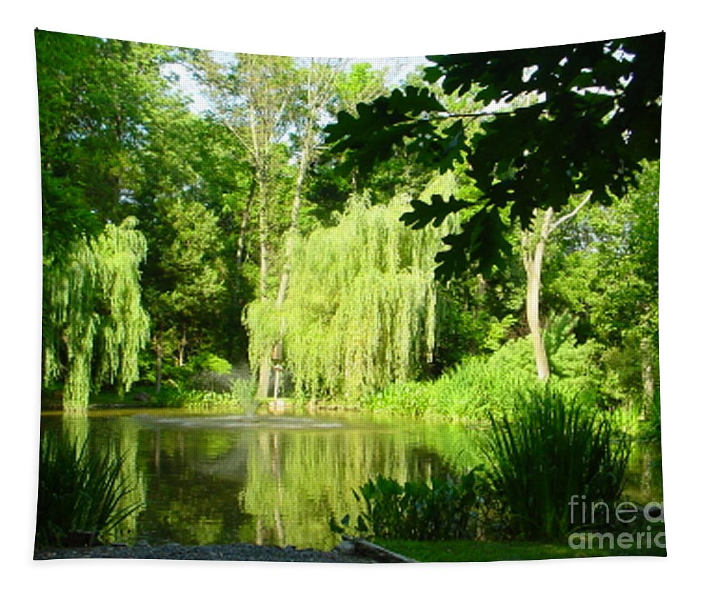 Landscape Tapestry featuring the photograph Weeping Willow Pond by Lyric Lucas