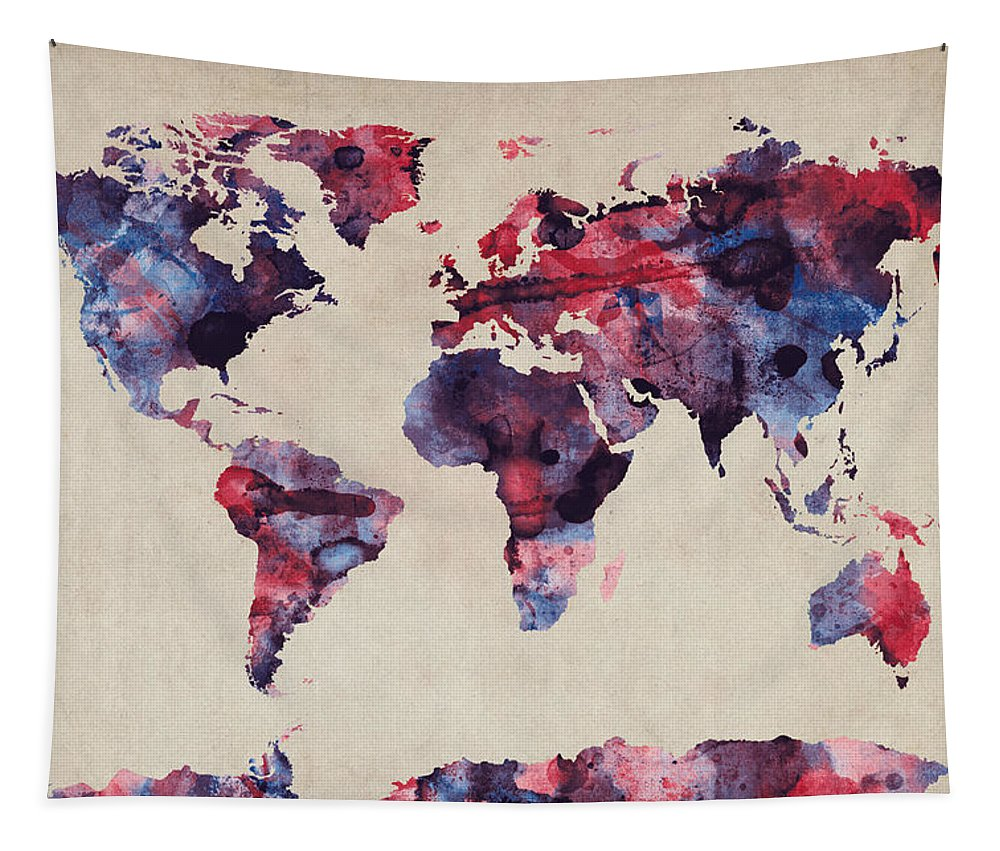 Map Of The World Tapestry featuring the digital art World Map Watercolor by Michael Tompsett