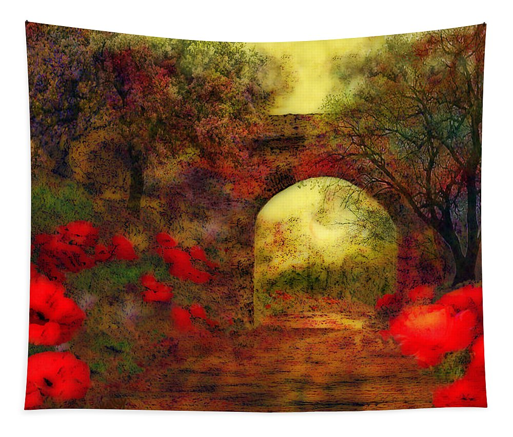 Landscape Tapestry featuring the painting Ye Olde Railway Bridge by Valerie Anne Kelly