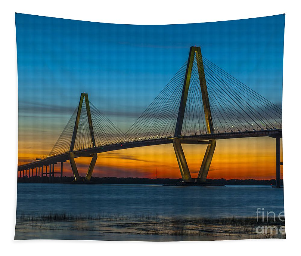 Bridge Tapestry featuring the photograph Arthur Ravenel Jr. Bridge At Sunset by Dale Powell