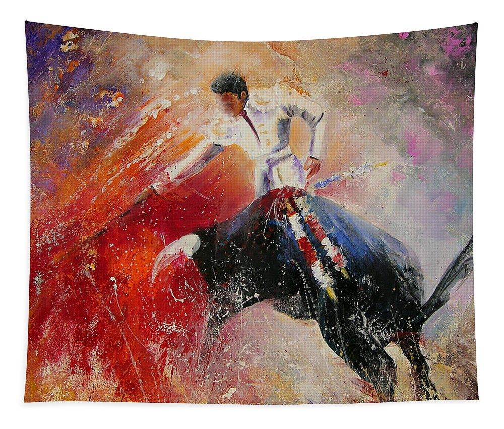 Animals Tapestry featuring the painting 2010 Toro Acrylics 05 by Miki De Goodaboom