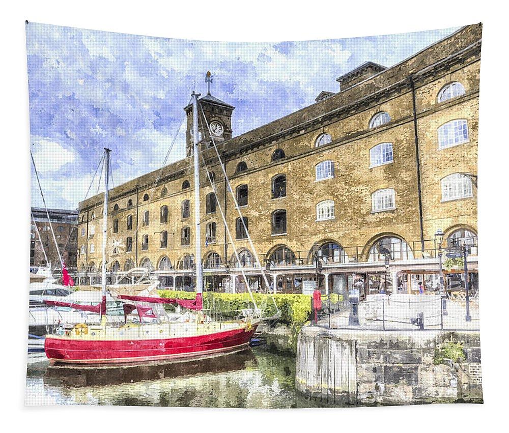 River Thames Tapestry featuring the digital art St Katherines Dock London 28 by David Pyatt