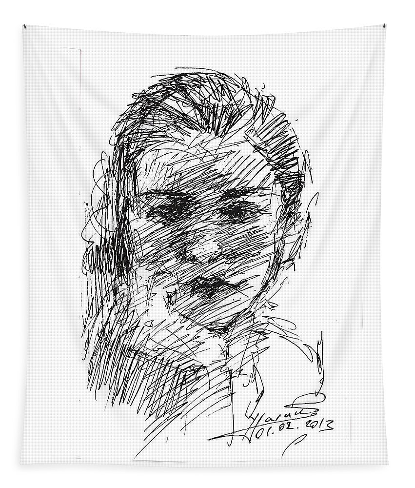 Girl Head Tapestry featuring the drawing ana by Ylli Haruni