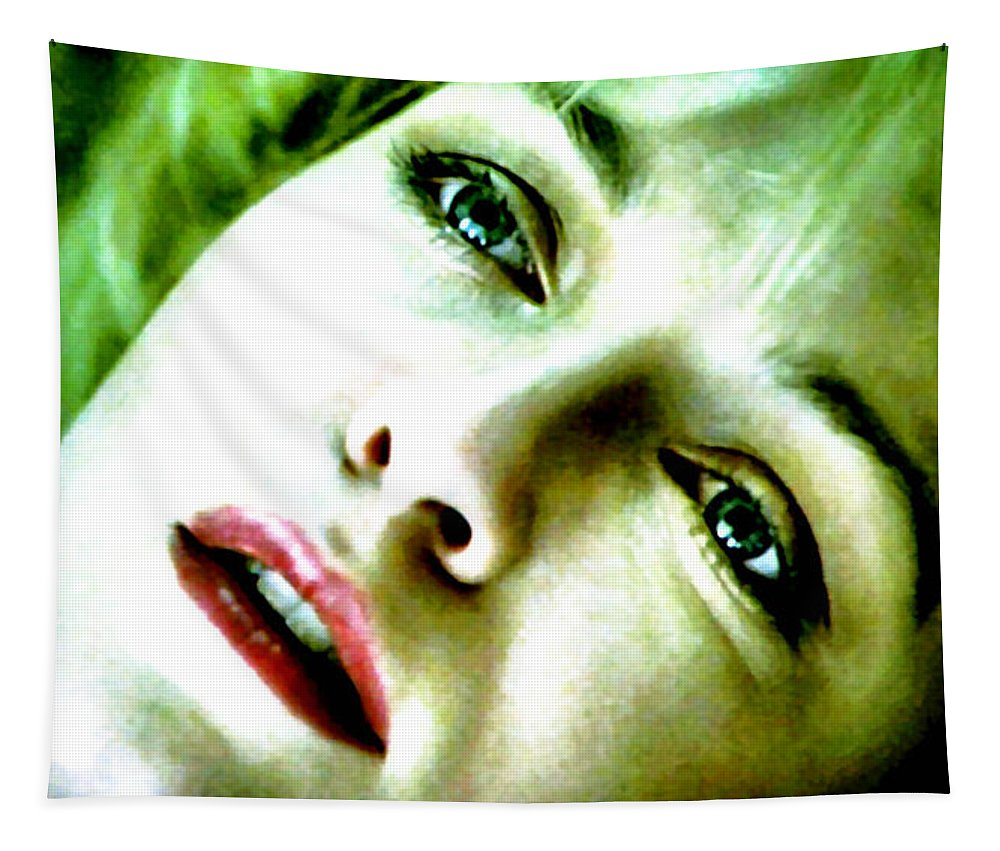 Laura Palmer Tapestry featuring the painting and The Angels Wouldn't Help You by Luis Ludzska