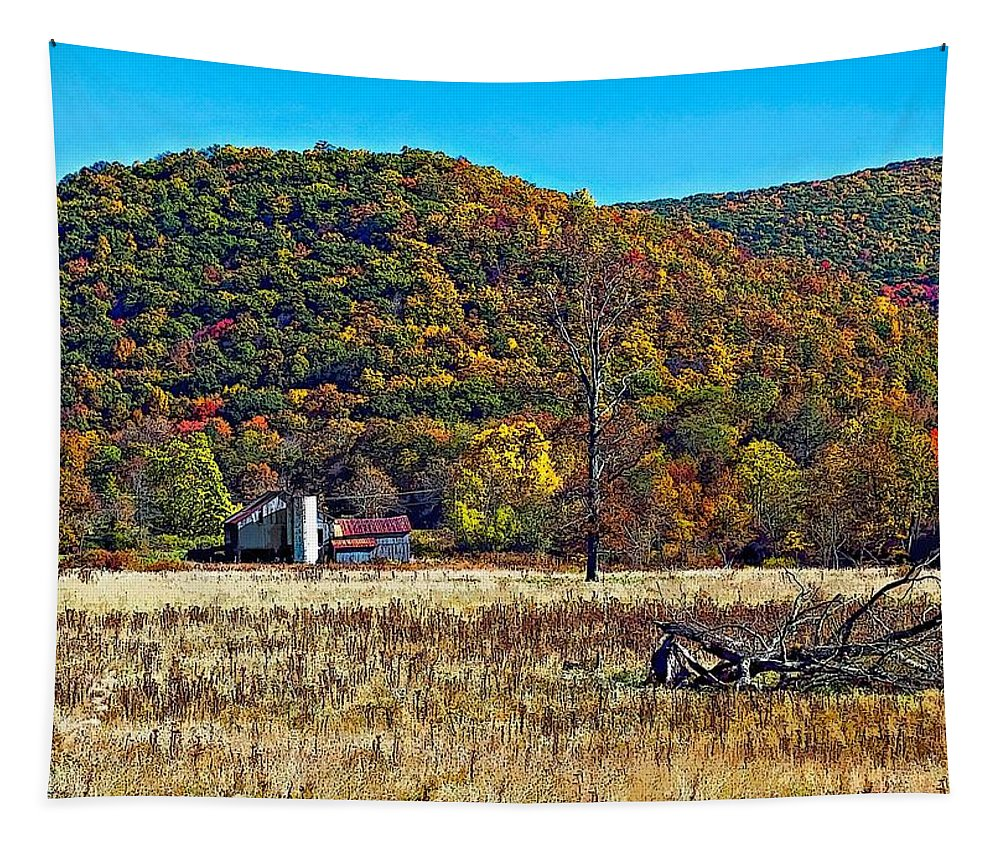 West Virginia Tapestry featuring the photograph Autumn Farm by Steve Harrington