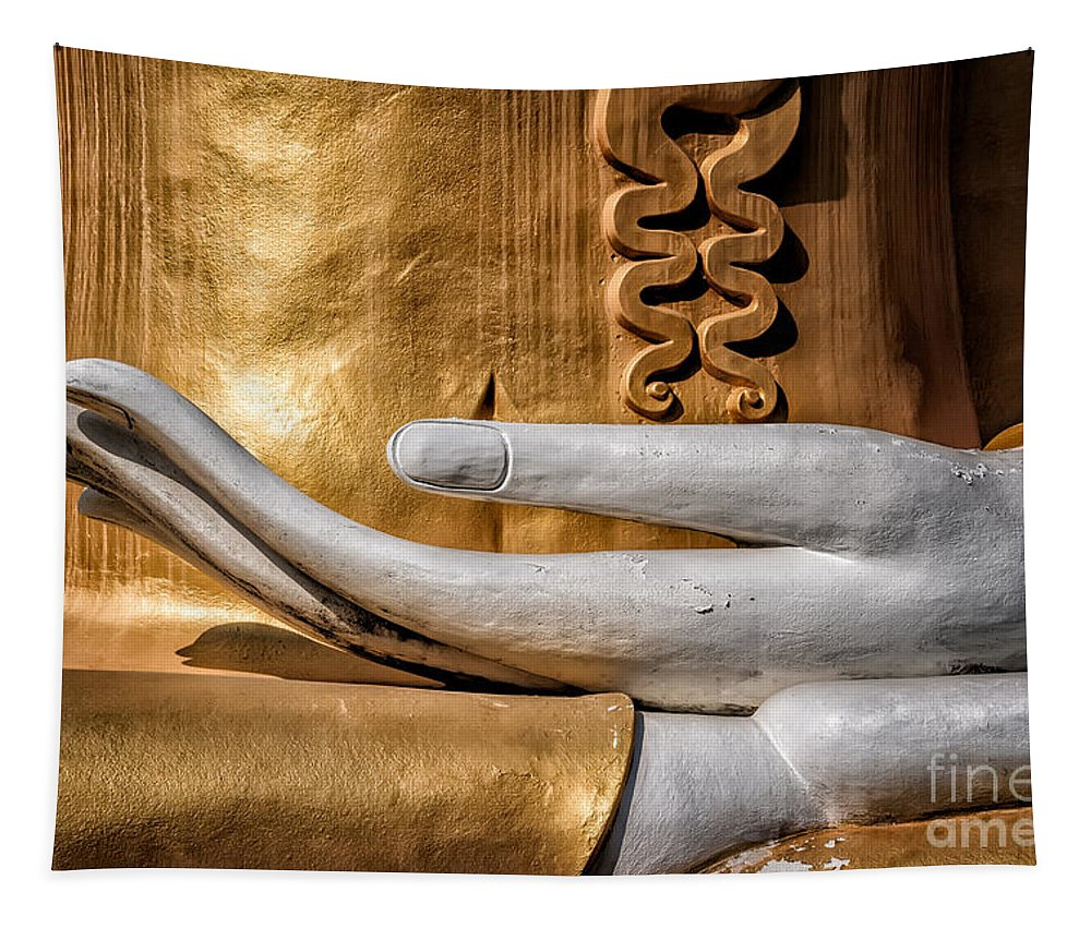 Buddha Tapestry featuring the photograph Buddha Hand by Adrian Evans