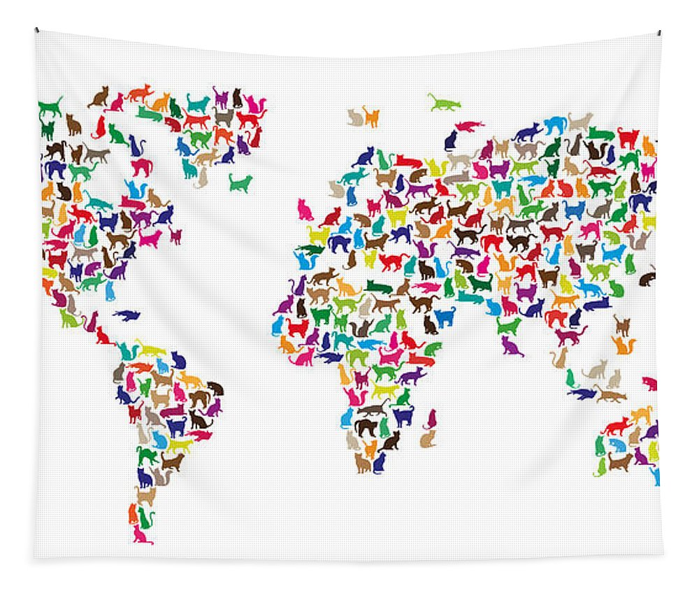 World Map Tapestry featuring the digital art Cats Map Of The World Map by Michael Tompsett