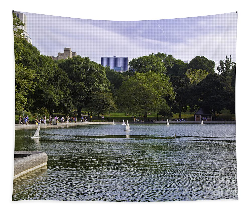 Pond Tapestry featuring the photograph Central Park Pond by Madeline Ellis
