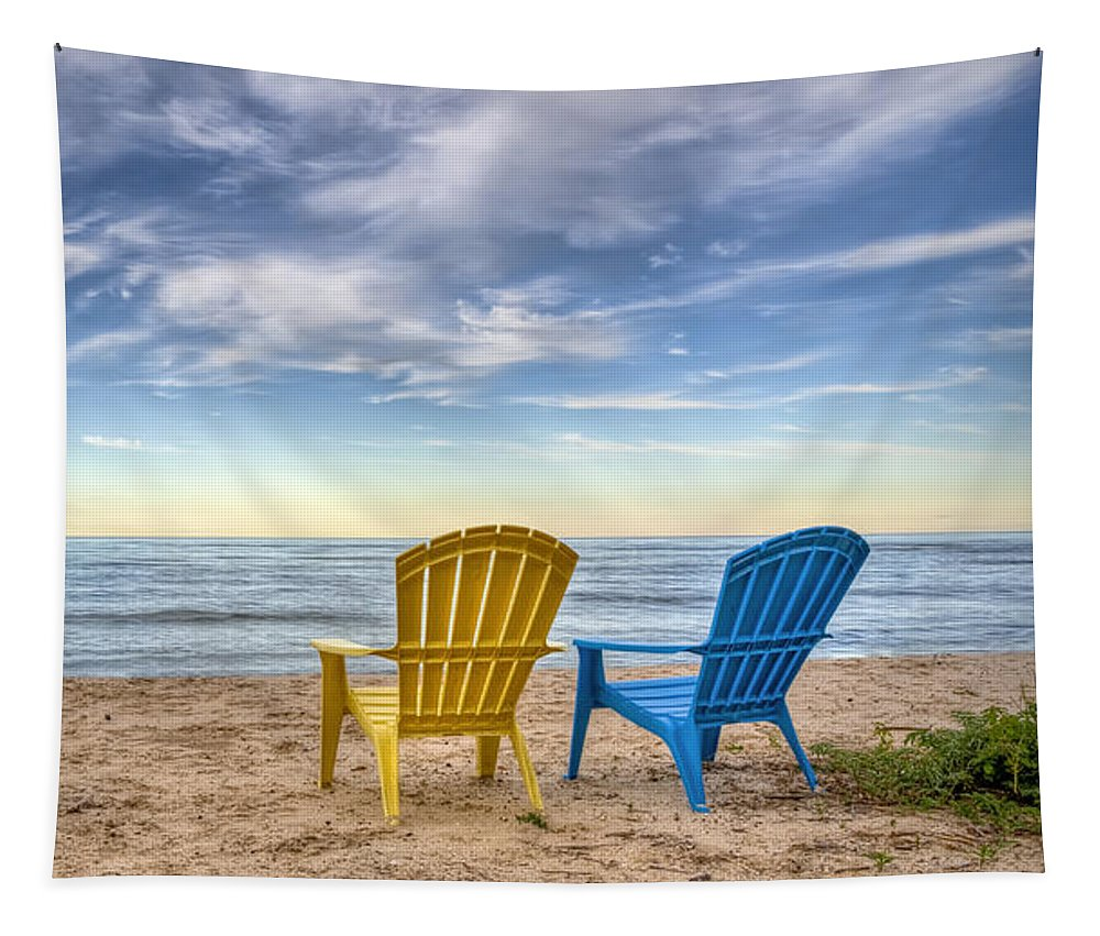 Chairs Tapestry featuring the photograph 3 Chairs by Scott Norris