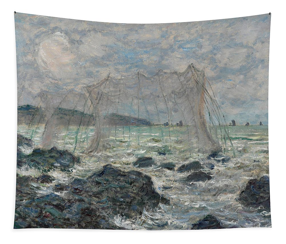 Claude Monet Tapestry featuring the painting Fishing Nets At Pourville by Claude Monet