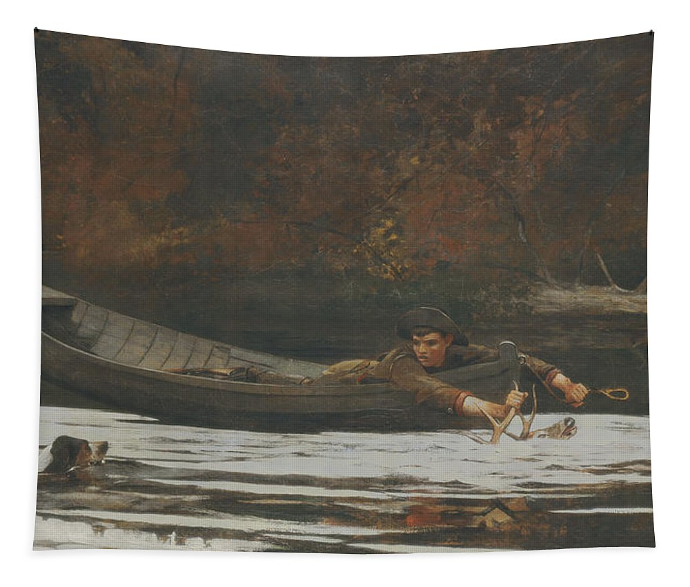 Deer; Canoe; River; Antlers; Hunting; Dog; Swimming Tapestry featuring the painting Hound And Hunter by Winslow Homer