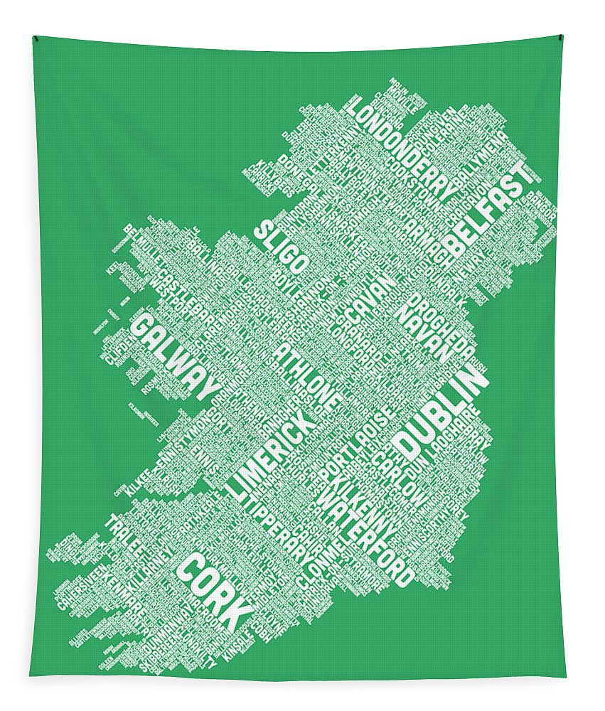 Ireland Map Tapestry featuring the digital art Ireland Eire City Text Map by Michael Tompsett