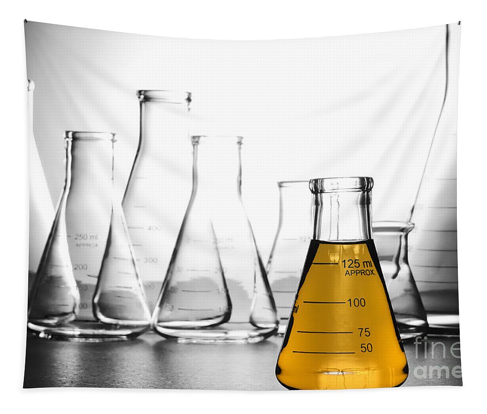 Chemical Tapestry featuring the photograph Laboratory Equipment In Science Research Lab by Olivier Le Queinec