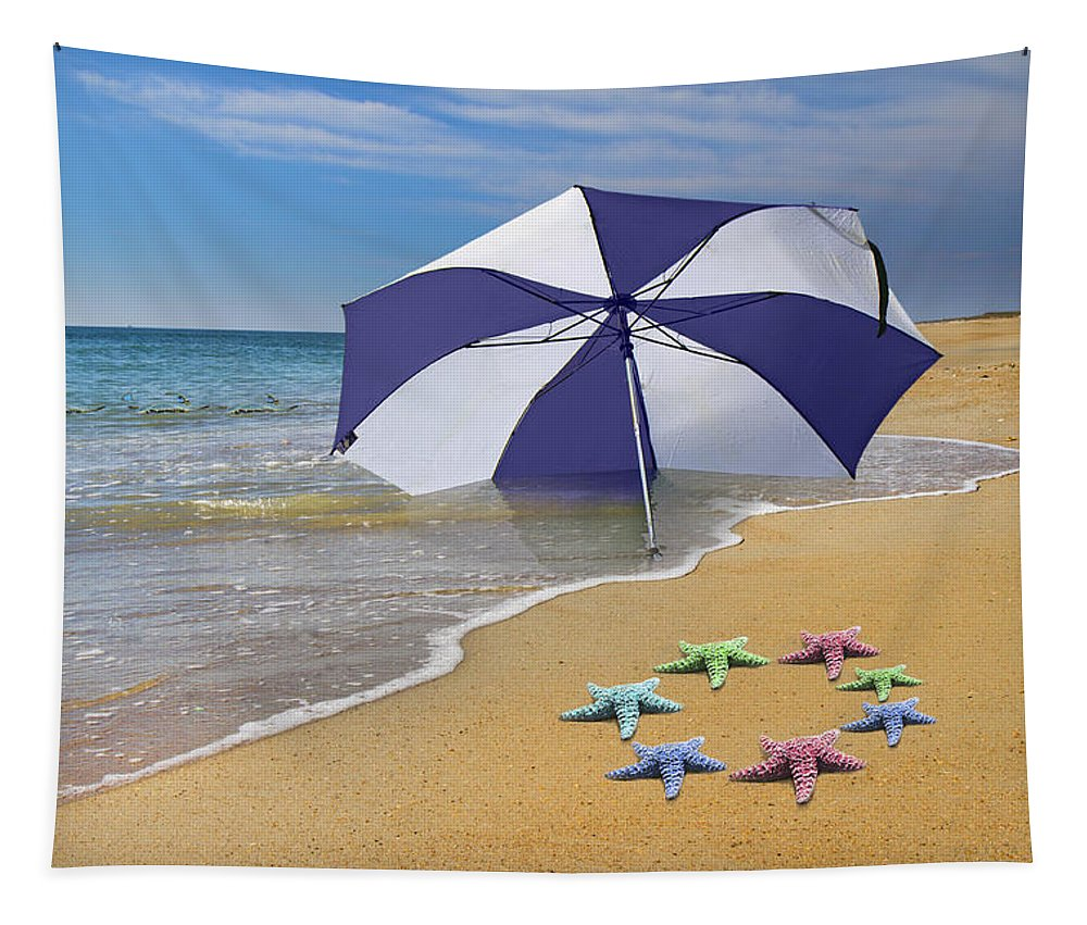 Beach Tapestry featuring the digital art Life's A Beach by Betsy Knapp