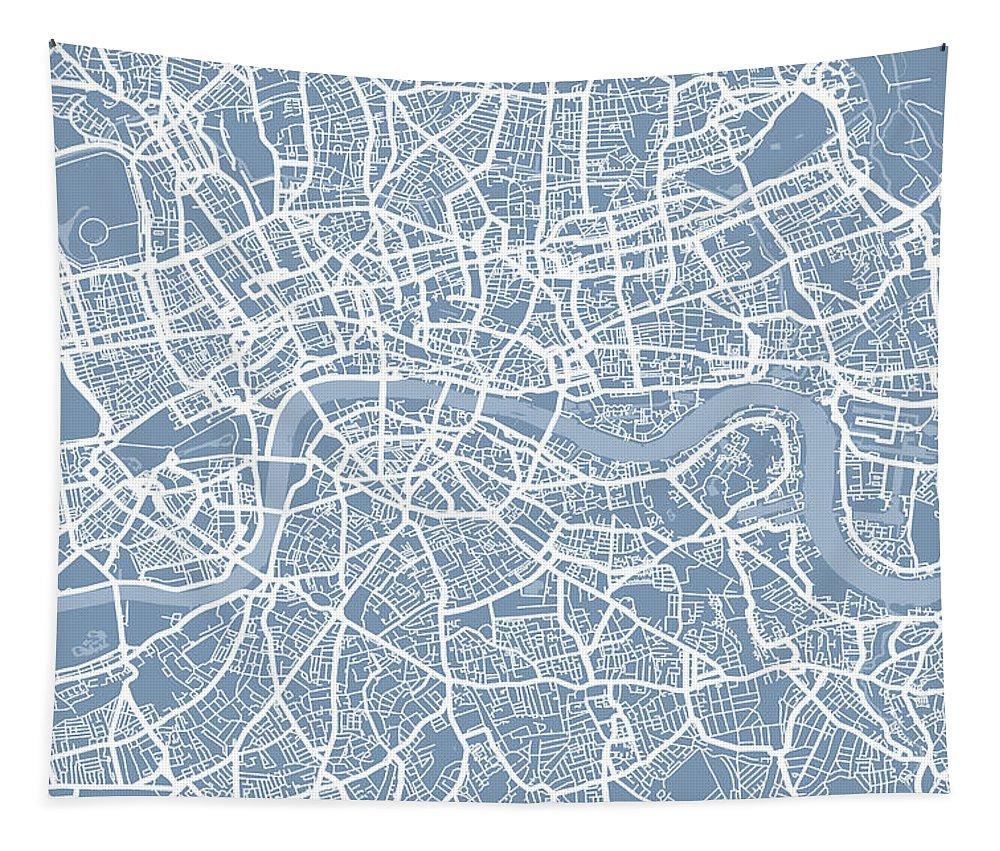 London Tapestry featuring the digital art London England Street Map by Michael Tompsett