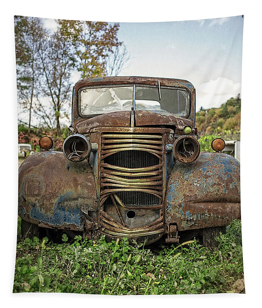 Chevy Tapestry featuring the photograph Old Junker Car by Edward Fielding