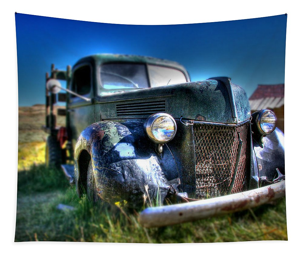 Hdr Tapestry featuring the photograph Old Truck At Bodie by Chris Brannen
