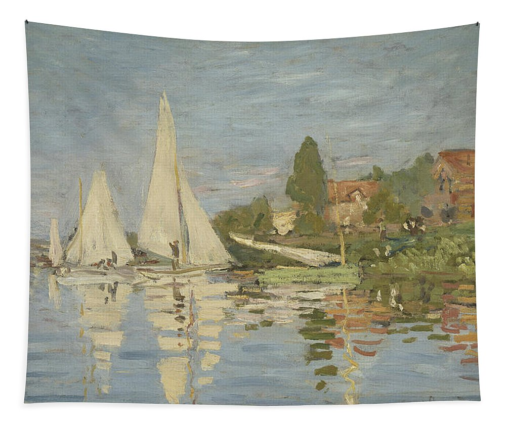 Claude Monet Tapestry featuring the painting Regattas At Argenteuil by Claude Monet