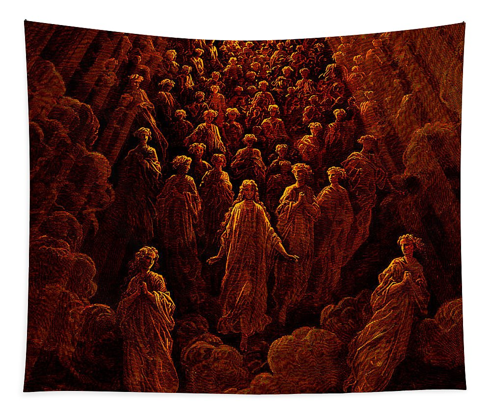Dore Tapestry featuring the painting The Angels In The Planet Mercury by Gustave Dore