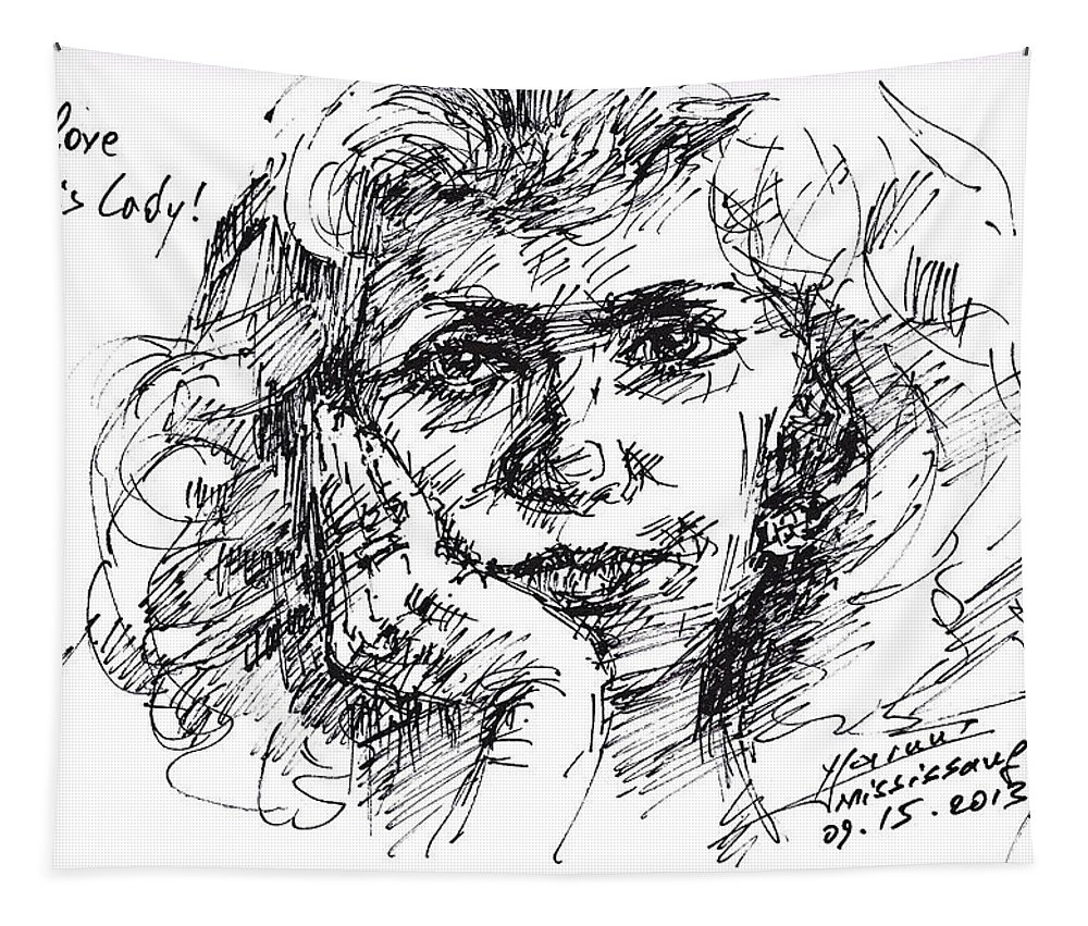 Lady Tapestry featuring the drawing Viola by Ylli Haruni