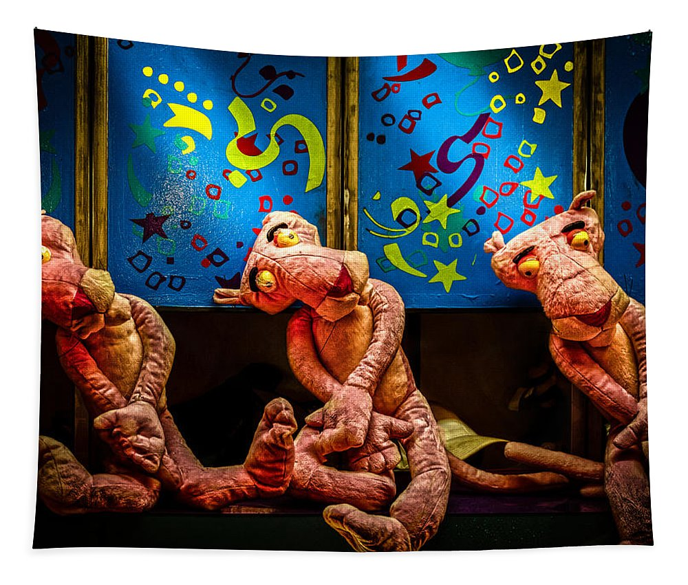 Toy Tapestry featuring the photograph 3 Wet Pink Panthers by Bob Orsillo