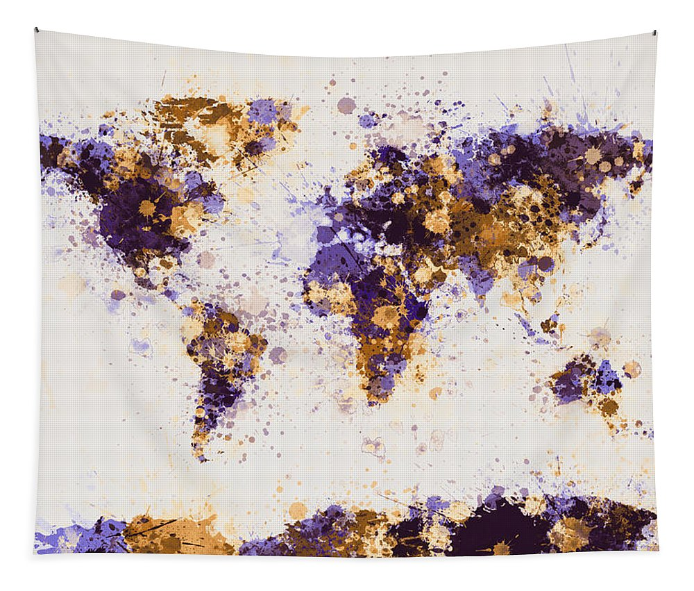 Map Of The World Tapestry featuring the digital art World Map Paint Splashes by Michael Tompsett