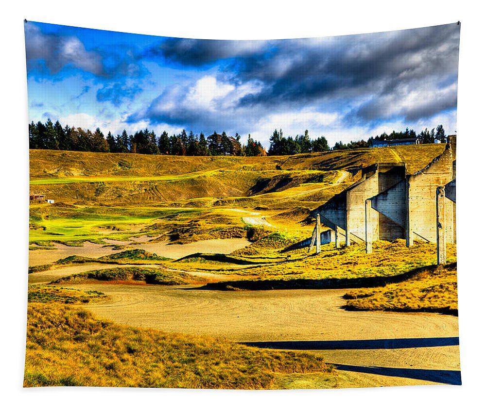 Chambers Bay Golf Course Tapestry featuring the photograph #18 At Chambers Bay Golf Course - Location Of The 2015 U.s. Open Tournament by David Patterson