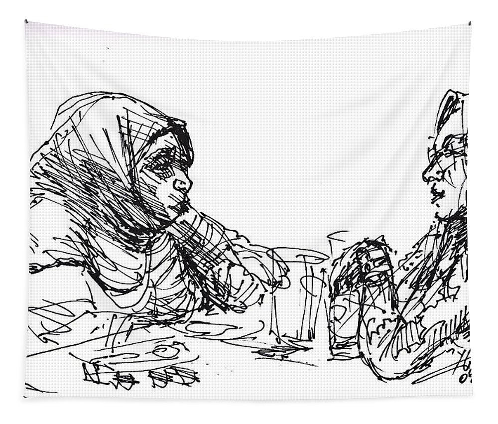 Ladies Tapestry featuring the drawing At Tim Hortons by Ylli Haruni