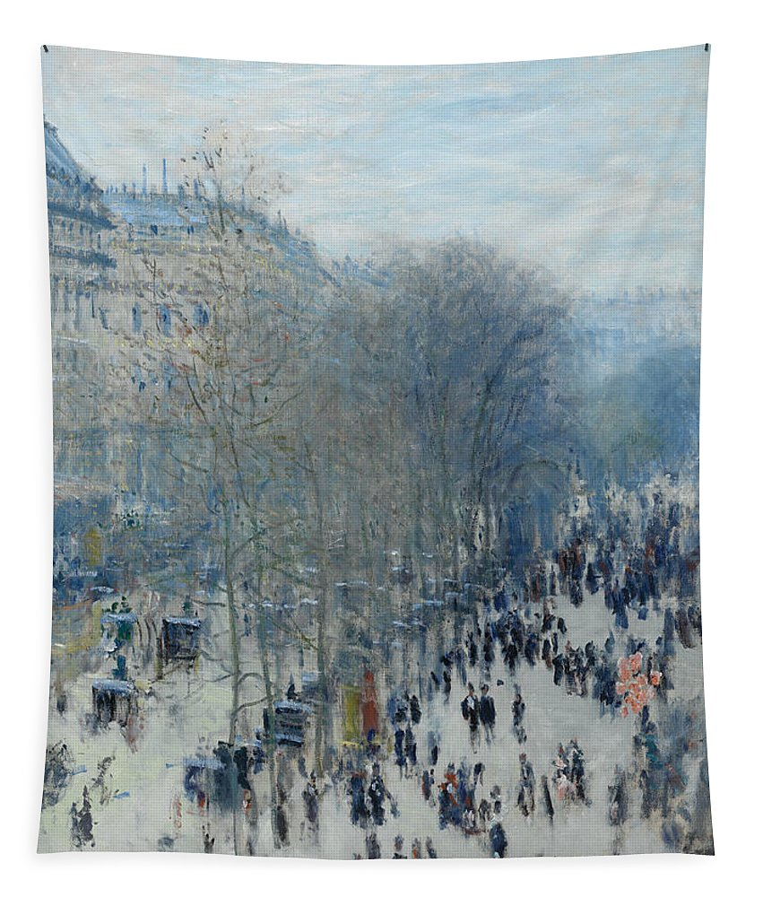 Claude Monet Tapestry featuring the painting Boulevard Des Capucines by Claude Monet