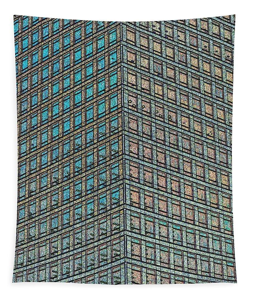 Abstract Tapestry featuring the digital art Canary Wharf London Art by David Pyatt