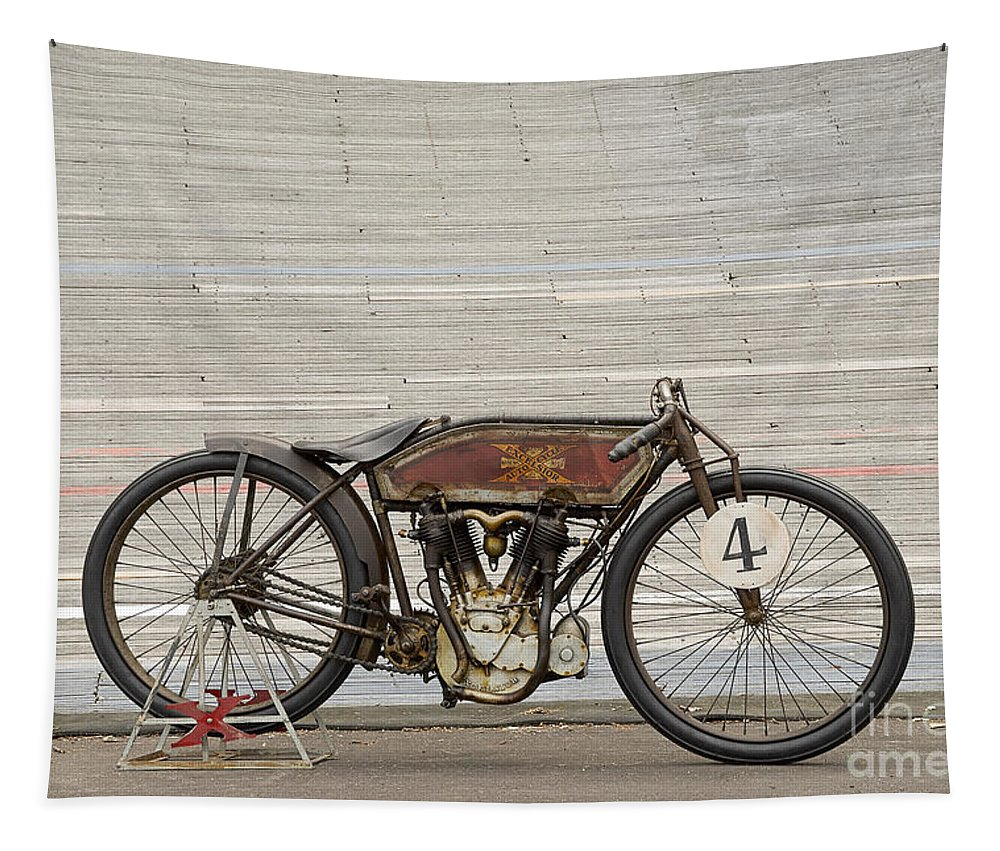 Motorcycle Tapestry featuring the photograph Excelsior Board Track Racer II by Frank Kletschkus