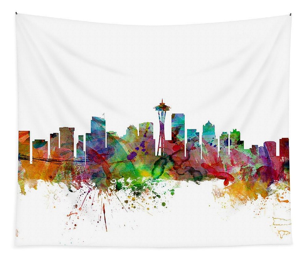 United States Tapestry featuring the digital art Seattle Washington Skyline by Michael Tompsett