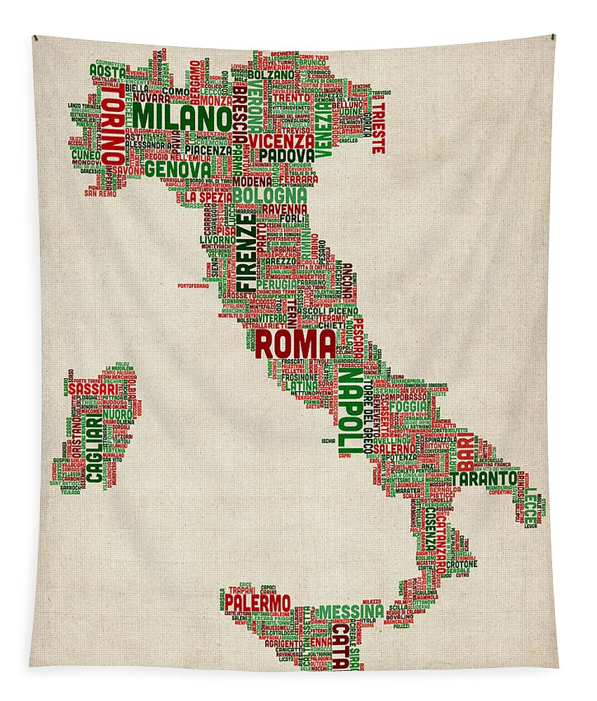 Italy Map Tapestry featuring the digital art Text Map Of Italy Map by Michael Tompsett