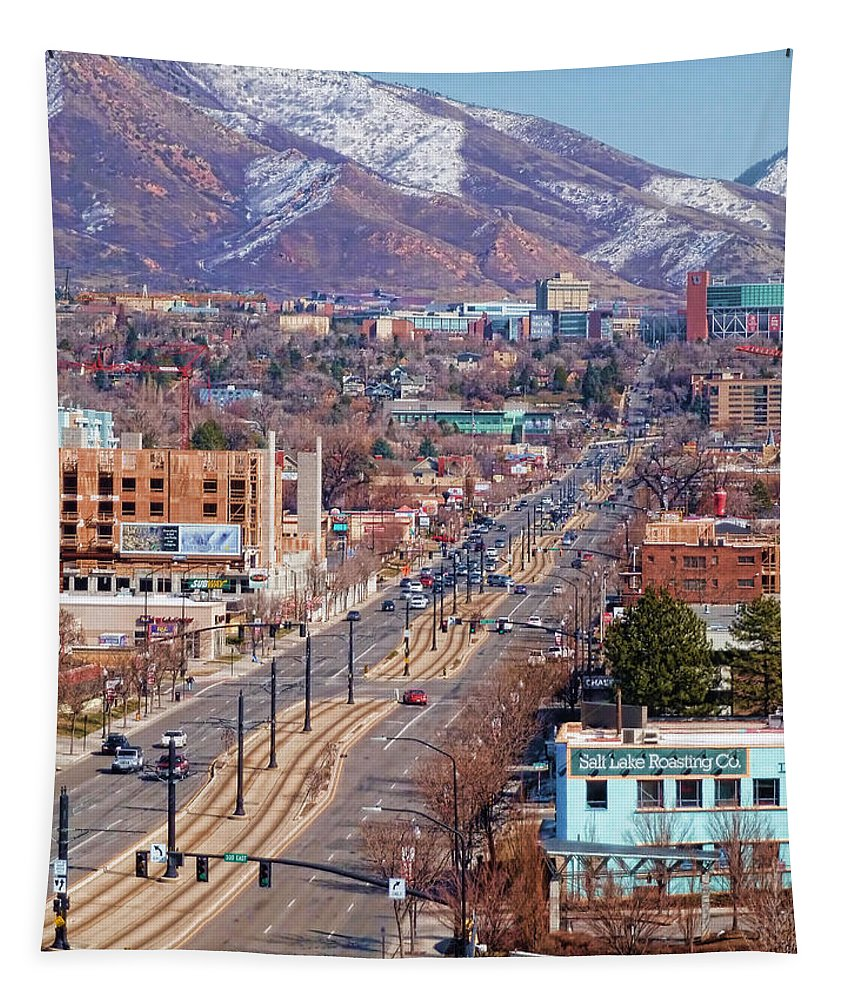 400 Salt Lake City Tapestry featuring the photograph 400 S Salt Lake City by Ely Arsha