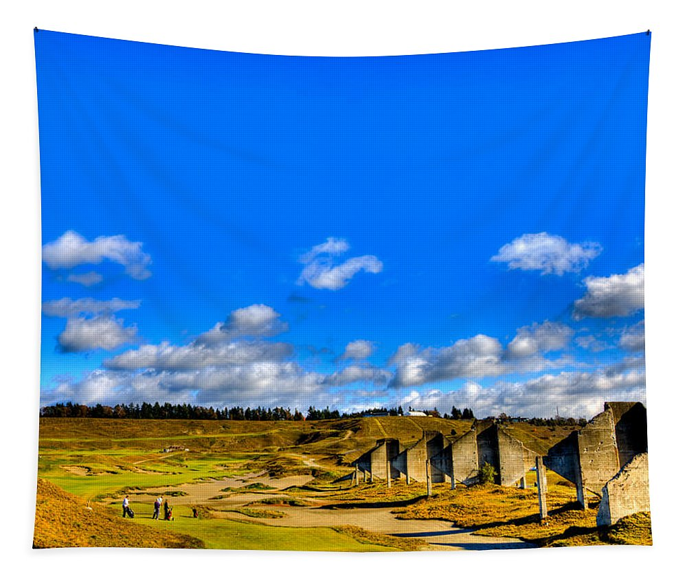 Chambers Bay Golf Course Tapestry featuring the photograph #18 At Chambers Bay Golf Course by David Patterson