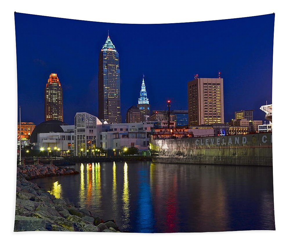 Cleveland Tapestry featuring the photograph Cleveland Ohio by Frozen in Time Fine Art Photography