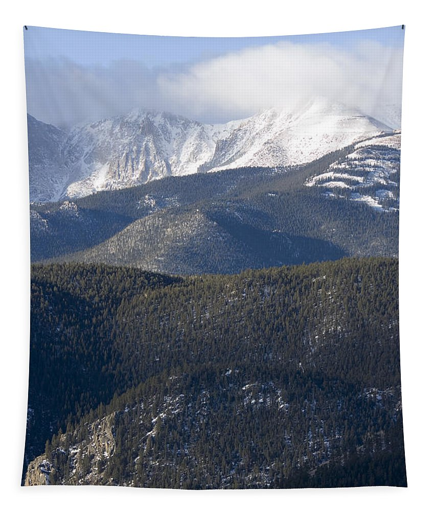 Pikes Peak Tapestry featuring the photograph Cloudy Peak by Steve Krull