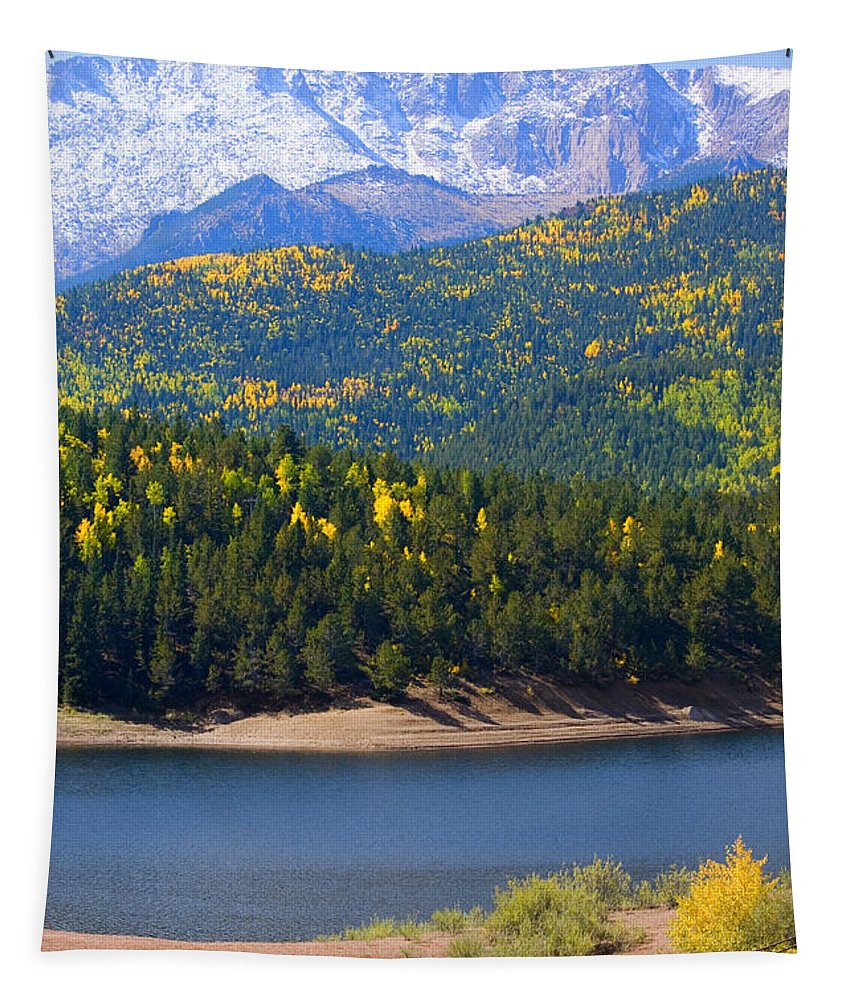 Aspen Leaves Tapestry featuring the photograph Crystal Lake On Pikes Peak by Steve Krull