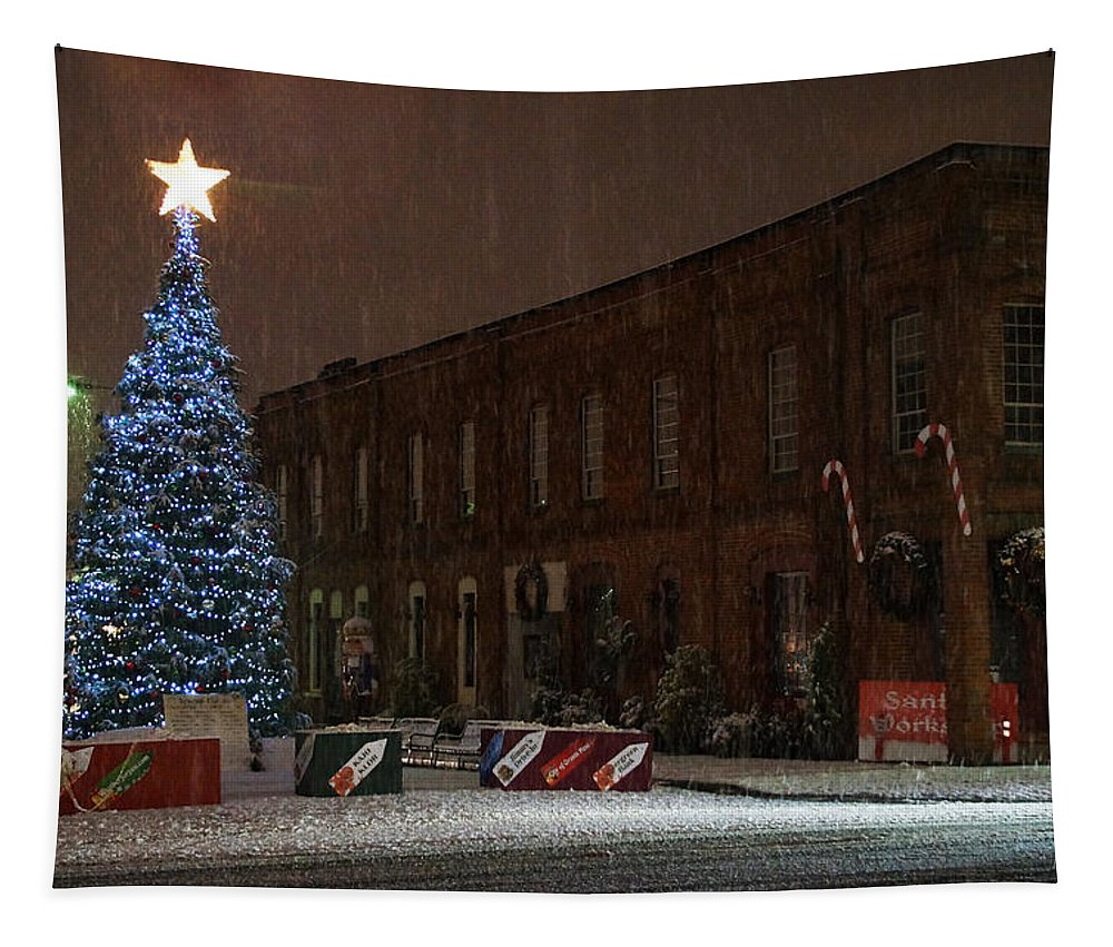 Christmas Tapestry featuring the photograph 5th And G At Christmas 2012 by Mick Anderson