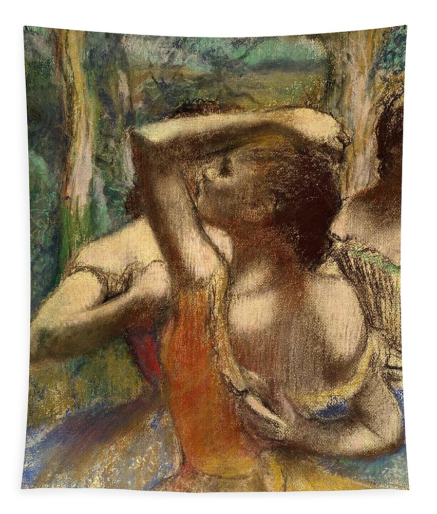Degas Tapestry featuring the pastel Dancers by Edgar Degas