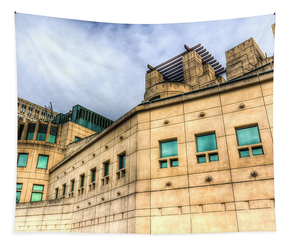 Spy Tapestry featuring the photograph Secret Service Building London by David Pyatt