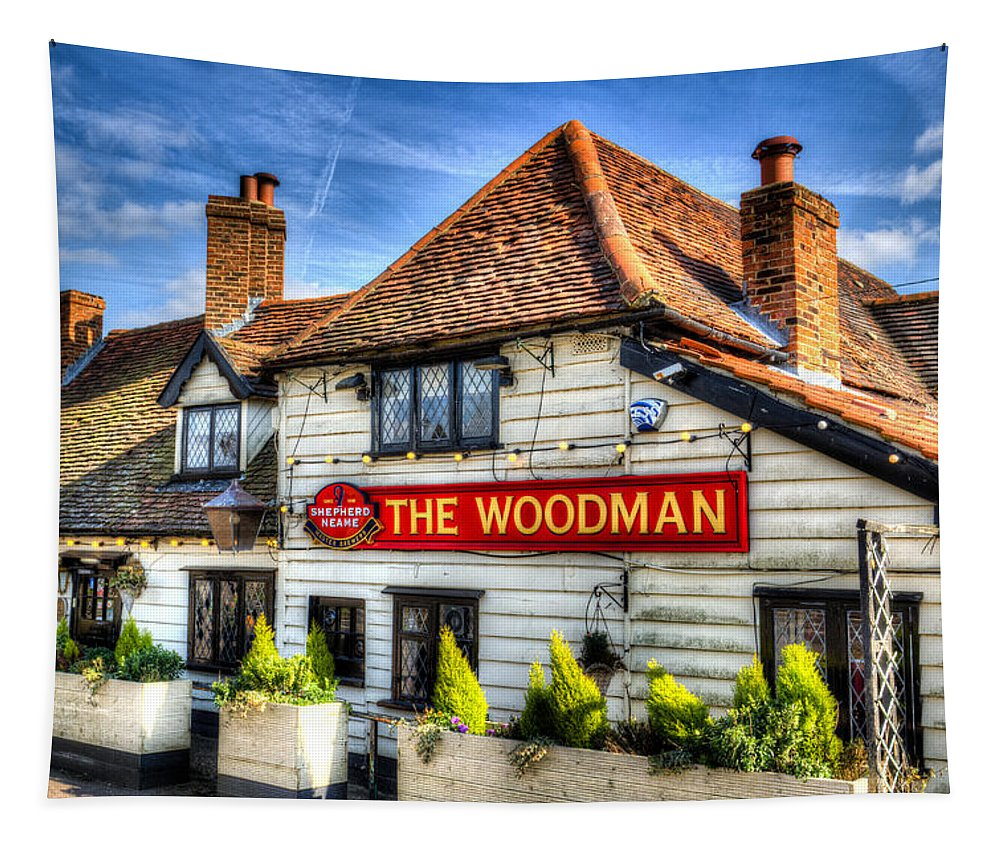 Pub Tapestry featuring the photograph The Woodman Pub by David Pyatt