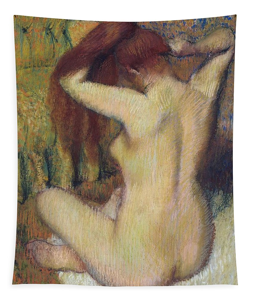 Edgar Degas Tapestry featuring the painting Woman Combing Her Hair by Edgar Degas