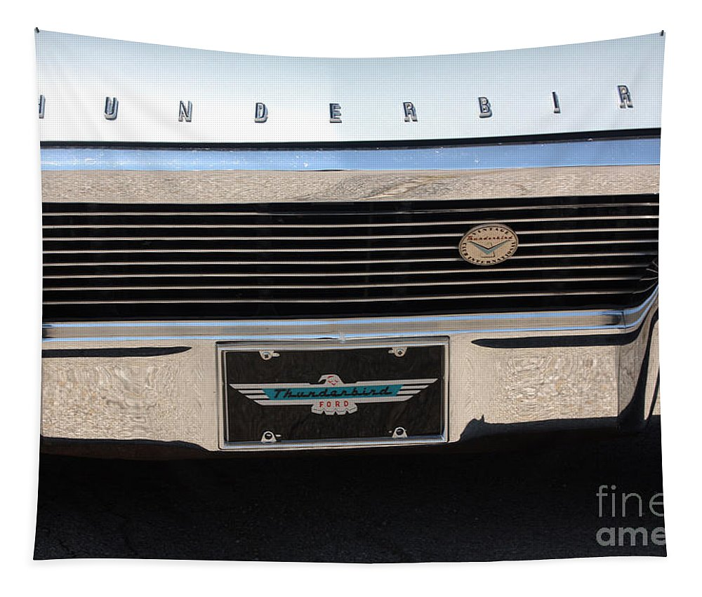 1965 Tapestry featuring the photograph 65 T-bird Grill-7875 by Gary Gingrich Galleries