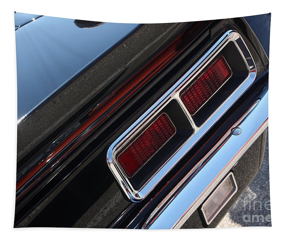 1967 Tapestry featuring the photograph 67 Black Camaro Ss Tail Light-8020 by Gary Gingrich Galleries