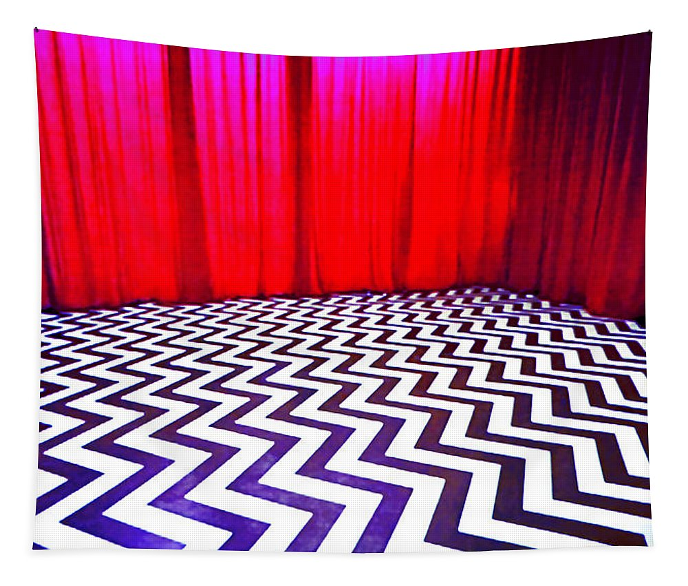 Laura Palmer Tapestry featuring the painting Black Lodge by Luis Ludzska