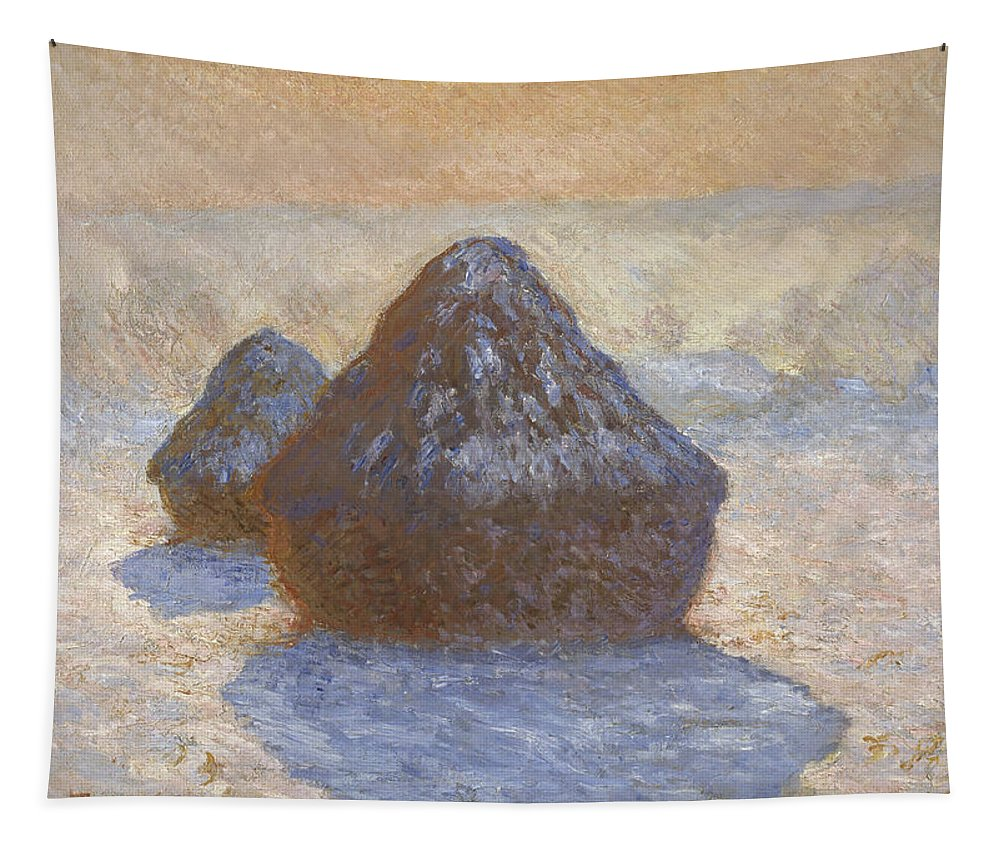 Claude Monet Tapestry featuring the painting Haystacks by Claude Monet