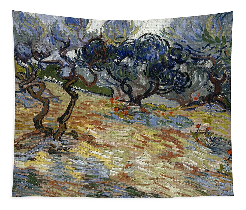 Vincent Van Gogh Tapestry featuring the painting Olive Trees by Vincent Van Gogh