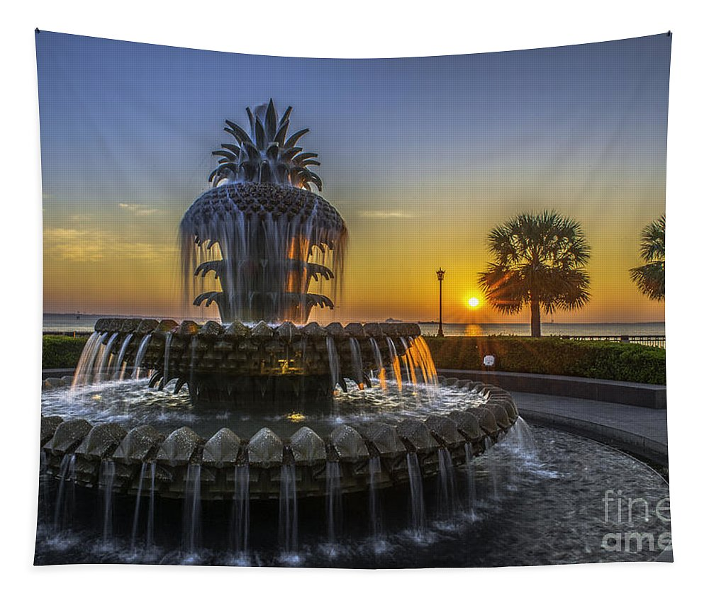 Pineapple Fountain Tapestry featuring the photograph Pineapple Fountain At Sunrise by Dale Powell