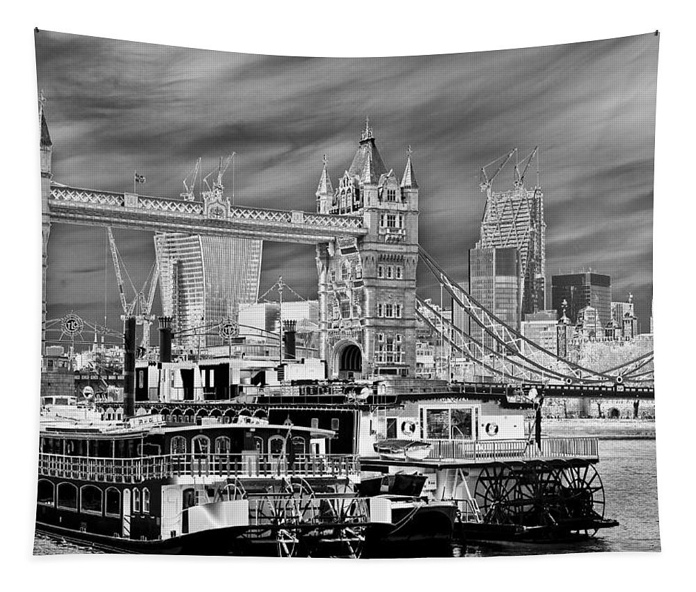 Paddle Steamers Tapestry featuring the digital art River Thames Art by David Pyatt
